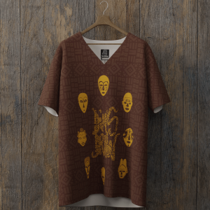 tee-shirt all over dimsdraw masque marron