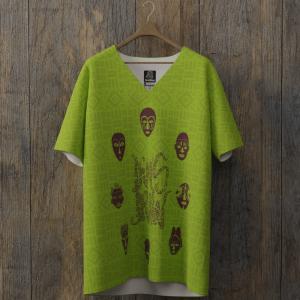 tee-shirt all over dimsdraw masque vert-pomme